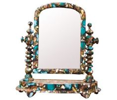 Vintage Material Decorated Mirror sold at The Old Cinema  http://www.theoldcinema.co.uk/