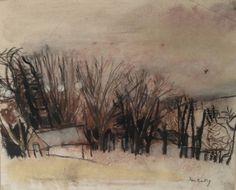 Joan Eardley – landscape with trees, Pastel Watercolor Landscape, Abstract Landscape, Landscape Paintings, City Landscape, Winter Landscape, Abstract City, Winter Painting, Popular Artists, Sketchbook Inspiration