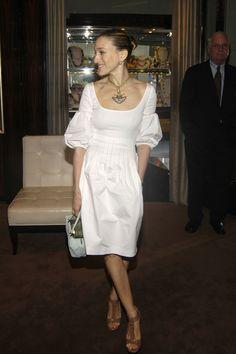 Cute White dress | Cocktail dress | fitted bodice, full skirt. Blousy sleeve | SJP
