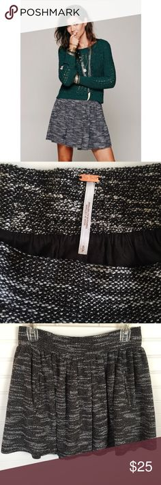 """FREE PEOPLE Holly Go Lightly Tweed Skirt Small🖤❤️ Another beauty from Free People! Flirty, flowy & fun black/white tweed mini skirt🖤❤️Super cute with leggings/tights & boots! Cotton/polyester blend, fully lined, medium/heavy weight, loose pleats, 2 hidden welt pockets, relaxed wide elastic waistband. See pic for material/care tag. Previously loved•great condition.   Size Small  Measurements are approximate (flat); •waist across 14"""" (28"""") before stretch •length 15 1/2""""  Pet/smoke free home…"""