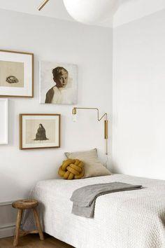 modern bedroom with art gallery wall. / sfgirlbybay