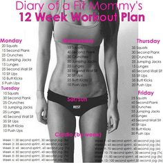 Diary of a Fit Mommy | 12 Week No-Gym Home Workout Plan | http://diaryofafitmommy.com: