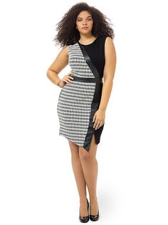 Houndstooth Faux Wrap Sheath Dress by ABS,Available in sizes L,0X/1X/2X and 3X