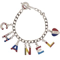 Pre-owned Chanel Bracelet ($799) ❤ liked on Polyvore featuring jewelry, bracelets, apparel & accessories, bracelet charms, charm bangle, heart chain bracelet, pendant charms and charm pendant