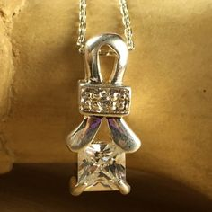 Vintage Retro .925 Sterling Silver 1 ctw Zircon Drop Pendant Necklace BB1296|We combine shipping|No Question Refunds|Bid $60 for free shipping. Starting at $1