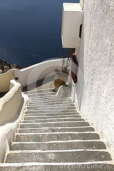 Typical cycladic architecture, at the town of Oia, in Santorini island, Cyclades, Aegean Sea, Greece.
