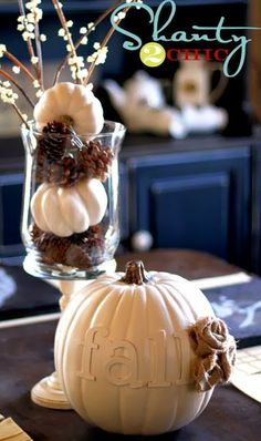 White Pumpkin Thanksgiving DIY Decor