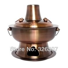 Thick stainless steel-plated 32cm copper pot for carbon charcoal  fire boiler fondue pot with old-fashioned