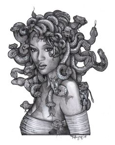 Black Madusa   These snakes actually represent her locks, she originally carried the snakes in a pouch that was said to represent wisdom. She was the African Goddess of Wisdom & defense (very attractive & alluring)  but later depicted as a monster & removed from her original culture.