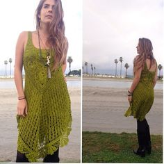 Handmade Crochet Dress by Laakra on Etsy available in Black, Red & Olive Green, Fall fashion with motorcycle jacket, tights and boots.