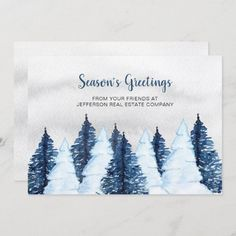 Watercolor Snowy Pine Trees Forest Winter Business Holiday Card | Zazzle.com #Christmas2020 #christmascards #holidaycards #christmasgreetingcards #holidaygreetingcards #happyholidayscards #photocards #photogreetings #weddings #bridal #Christmas #Holidays #christmasshopping #Christmasgifts @zazzle #zazzlemade #zazzleinspiration #zazzle #zazzlecards Business Holiday Cards, Holiday Greeting Cards, Christmas Cards, Pine Trees Forest, Christmas Shopping, Photo Cards, Wedding Stationery, Personalized Gifts, Tapestry