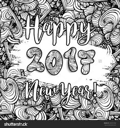 Happy New Year 2017 Hand Drawn Celebration Background. Xmas Doodles. Vector Illustration In Doodle Style. Adult Coloring Page Design - 464701958 : Shutterstock