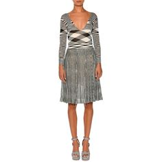 Missoni Mixed-Knit Long-Sleeve Dress ($1,075) ❤ liked on Polyvore featuring dresses, women's apparel dresses, missoni dress and missoni