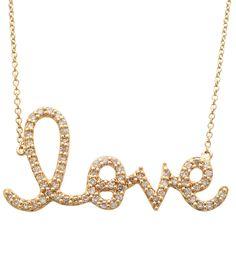 Sydney Evan Large Diamond Love Necklace | Love Script Jewelry | TL
