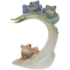 """Herend Three Tree Frogs Palm Leaf ($1,185) Herend porcelain from Hungary, handmade and handpainted with 24K gold accents. 4"""" x 3 5/8"""" x 6 3/8""""h."""