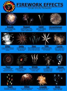 firework effects - Cakes, shots, peony's bracade etc. Wat betekent het eigenlijk allemaal die vuurwerk termen? Op dit plaatjes zie je de verschillen vuurwerk effecten uitgelegd met een plaatje.