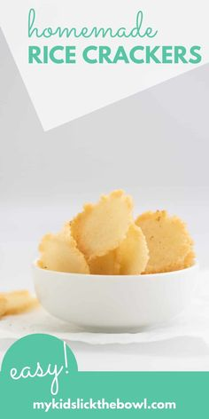 Rice Crackers a homemade healthy gluten-free cracker you can make with leftover rice #crackers #snacks #healthyfood #easyrecipe #veganrecipe #glutenfree #glutenfreedairyfree Healthy Homemade Snacks, Homemade Baby Foods, Savory Snacks, Healthy Meals For Kids, Vegan Snacks, Healthy Crackers, Gluten Free Crackers, Homemade Crackers, Allergy Free Recipes