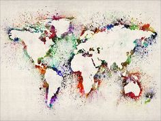 Map of the World Map Abstract Painting Art Print 778 by artPause