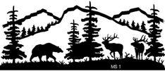 Mountain Scene Bear and Elk Metal Wall Art (Powered by CubeCart)