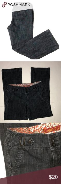 """One 5 One Trouser Jeans Size 10 One 5 One Trouser Jeans with slightly Flared legs Flat waist  is 16"""" • 29 1/2"""" Inseam• Like new condition • 74% Cotton • 25% Polyester • 1% Spandex One 5 One Jeans Flare & Wide Leg"""