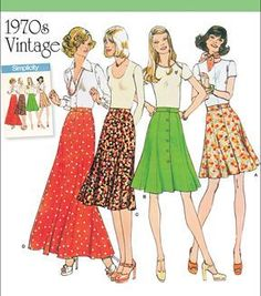 Simplicity Patterns Us8019H5-Simplicity Misses' Vintage 1970'S Skirts-6-8-10-12-14