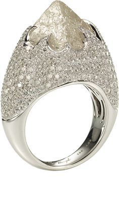Iceberg ring featuring one octahedron rough diamond totaling 10.73cts accented with 3.20cts of pa...