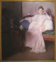 Edmund Charles Tarbell (1862-1938)  Arrangement in Pink and Gray (Afternoon Tea), circa 1894, oil on canvas, Worcester Art Museum