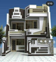 Top ideas for home decor and interior design floors, ceiling and wall Front Elevation Designs, House Elevation, Bungalow House Design, Modern House Design, 5 Marla House Plan, Front Wall Design, Facade Design, Stair Design, Facade House