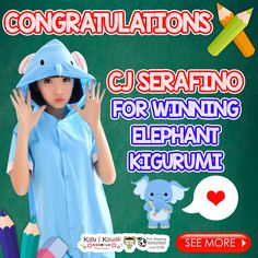 Our Lucky Back-to-School Kawaii Animal Kigurumi Giveaway winner is finally here! (^O^) ♥ ♥ ♥  Congratulations to CJ Serafino for winning Elephant Summer Kigurumi! Please kindly message us on support@kigukawaii.com on how to claim your prize.  Our endless thank you to everyone who supported our giveaway! With so much gratitude, we would like to give everyone who participated the contest a discount code!   Here's your 10% discount #KiguKawaii lovers!  Coupon code: LoveKiguKawaii