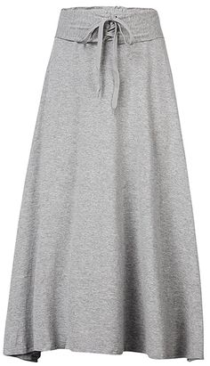 Casual Pure Color Drawstring High Waist Maxi Skirt For Women