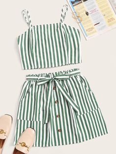 To find out about the Striped Shirred Cami Top With Button Front Belted Skirt at SHEIN, part of our latest Two-piece Outfits ready to shop online today! Girls Fashion Clothes, Fashion Outfits, Clothes For Women, Casual Skirt Outfits, Cute Outfits, Stylish Outfits, White Cami Tops, Summer Outfits For Teens, Summer Clothes