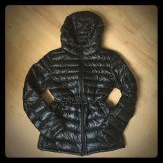UNIQLO Down Hooded padding jacket Like New! Worn Once. Size: Small .Black soft nylon fabric.     Adjustable elastic string inside. UNIQLO Jackets & Coats Puffers