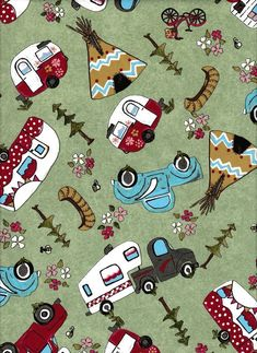 Glamping Gypsies / Camping Fabric / Camper Fabric / Vintage