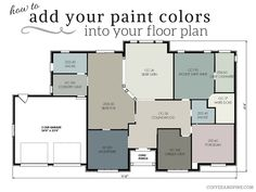 Doing a full home color scheme can be overwhelming. This tutorial will show you how to insert them into a floorplan so you can get a better idea of how it will all flow together! #paint #color #benjaminmoore www.coffeeandpine.com