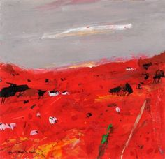 Red Field with Sheep, Arran,. 2007 Greeting card, By Hamish MacDonald, Scottish Artist http://www.hamishmacdonaldprints.com/fine-art-cards