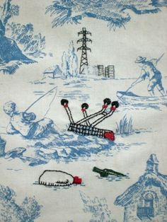 Embroidered Toile de Jouy by Anjie, Banksy style