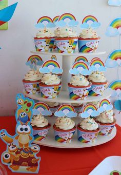 Rainbow cupcakes at a Baby TV Birthday Party!  See more party planning ideas at CatchMyParty.com!