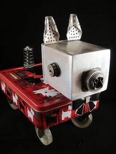 Shultz Dog Bot  found object robot sculpture assemblage by ckudja, $160.00