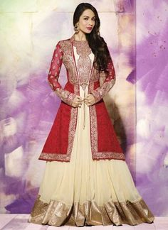 Malaika Red And Cream Georgette Zari With Embroidery Work Salwar Suit http://www.angelnx.com/Salwar-Kameez/