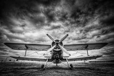 Black & White Bi-Plane by - Dave Morrow