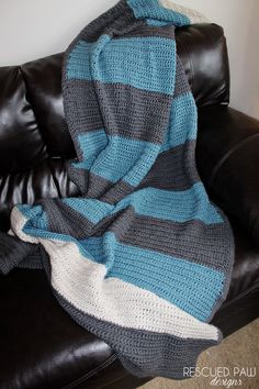 Simple Color Blocked Crochet Blanket Pattern From Rescued Paw Designs. Great for Beginners!!