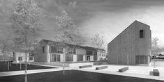 OPERASTUDIO - Project - Social housing in Switzerland - view #render #spring #housing #nopeople #black&white