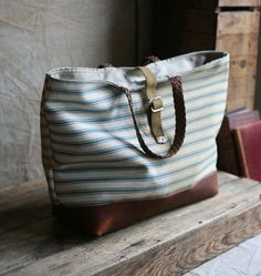 Leather bottomed carryall by Forest Bound on Etsy