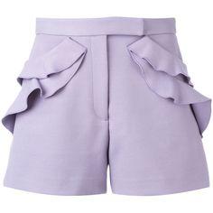 Elie Saab - ruffle detail shorts - women -... (26.105 RUB) ❤ liked on Polyvore featuring shorts, bottoms, pants, elie saab, purple, rayon shorts, viscose shorts, spandex shorts, ruffle trim shorts and flounce shorts