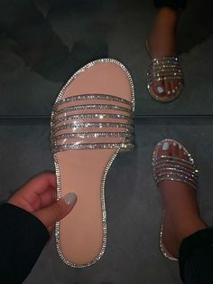 Bling Sandals, Bling Shoes, Shoes Sandals, Heels, Flats, Dsw Shoes, Strappy Sandals, Pretty Sandals, Cute Sandals