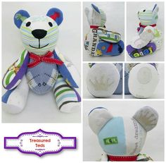 Treasured-teds.co.uk for beautiful keepsake memory bears, made from your precious clothing. Ted made from vintage clothing.