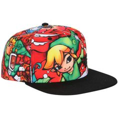 Nintendo The Legend Of Zelda: The Wind Waker Stained Glass Sublimation... ($16) ❤ liked on Polyvore featuring accessories, hats, red, snap back hats, nintendo hat, bills hats, red snapback hat and red snapback