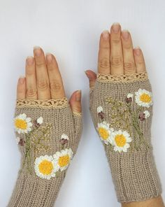 Hand Knitted Fingerless Gloves, Gloves & Mittens, Gift Ideas, For Her, Winter Accessories, Ribbon Embroidery, Beige,White, Yellow, Chamomile