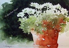 Watercolor Painting of Chrysanthemums by RoseAnn Hayes, print is available in Etsy shop