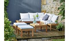 Buy Argos Home 6 Seater Wooden Corner Sofa Set at Argos. Thousands of products for same day delivery or fast store collection. Argos Garden Furniture, Corner Garden Furniture, Corner Garden Seating, Wooden Garden Furniture Sets, Corner Sofa Garden, Wooden Garden Table, Garden Sofa Set, Garden Table And Chairs, Corner Dining Set